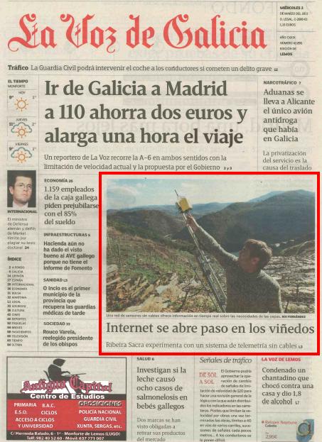 Internet Se Abre Paso En Los Viñedos Diario La Voz De Galicia Itg En Los Medios Itg Instituto Tecnológico De Galicia